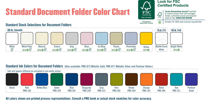 Color Chart for Folders and Ink