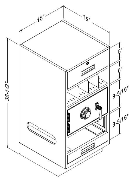 Fenco Teller Pedestal With 1 Key Locking Box Drawer Over A P 51