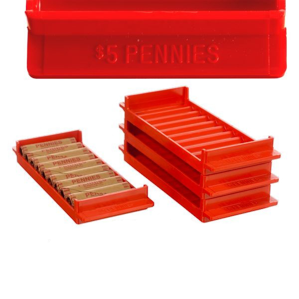 Coin Storage Trays for Pennies - Red $5