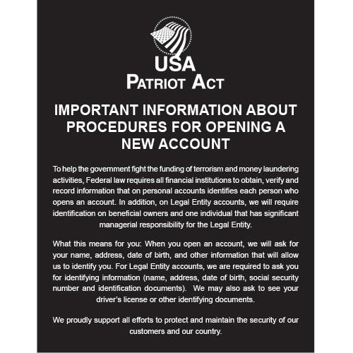 Patriot Act Signs: NetBankStore com
