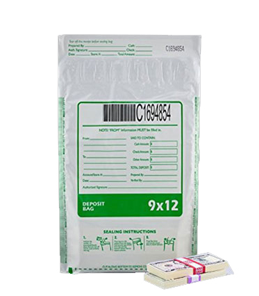9W x 12H White Tamper-Evident High Security Deposit Bags
