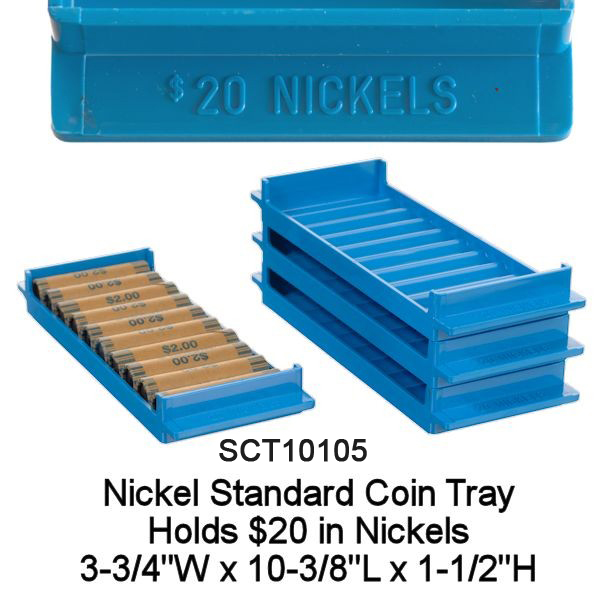 Standard Nickel Rolled Coin Tray - Blue Holds $20