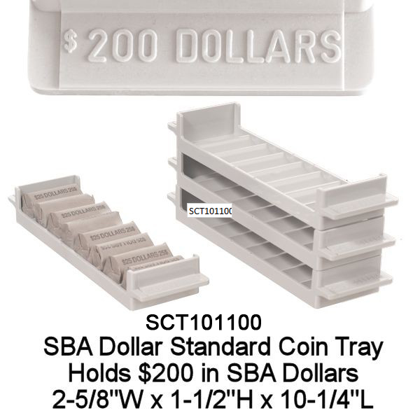 SBA Dollar Rolled Coin Tray - Gray Holds $200