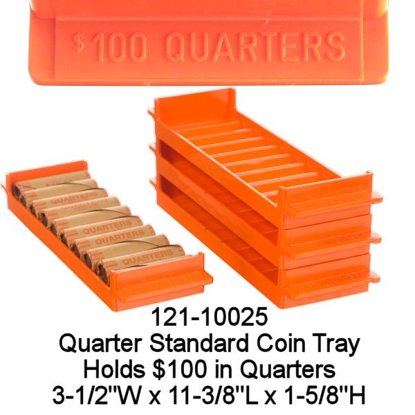 Standard Quarter Rolled Coin Tray - Orange Holds $100