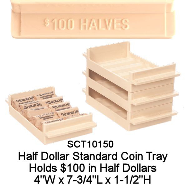 Standard Halve Dollar Rolled Coin Tray - Tan Holds $100
