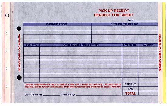 Parts Pick Up Receipt Form Netbankstore Com