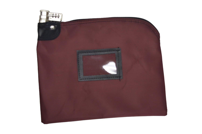Combination Locking Bank Bag In Laminated Nylon Burgundy