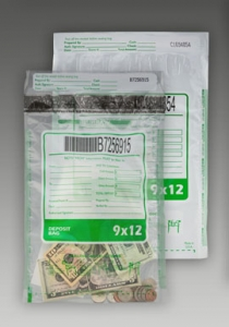 Tamper-Evident Clear Bank Deposit Bag, 12X9
