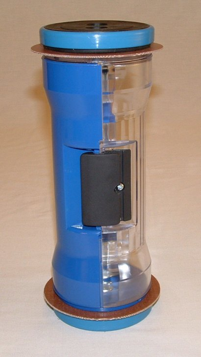 Pneumatic Tube Hour Glass Carrier, Half Colored Blue 4.5""