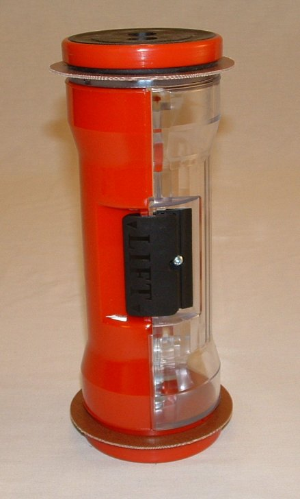 Pneumatic Tube Hour Glass Carrier, Half Colored Red 4.5""