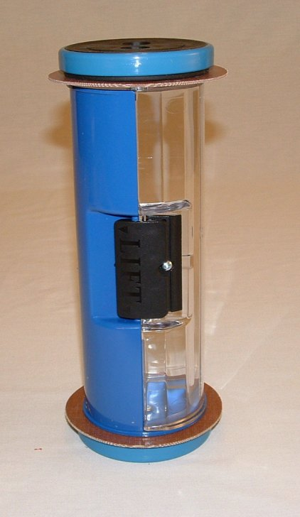 Pneumatic Tube Straight Body Carrier, Half Colored Blue 4.5""